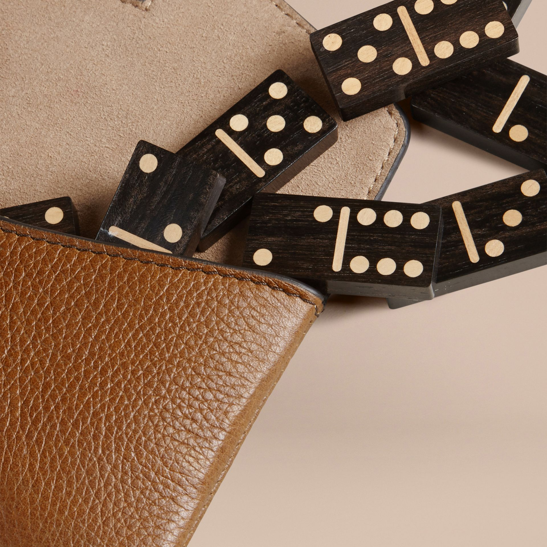 Tan Wooden Domino Set with Grainy Leather Case Tan - gallery image 2