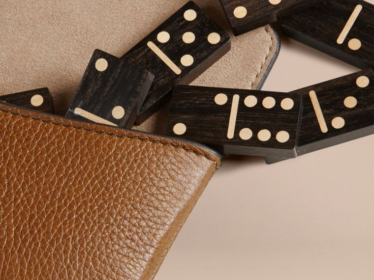 Wooden Domino Set with Grainy Leather Case in Tan - cell image 1