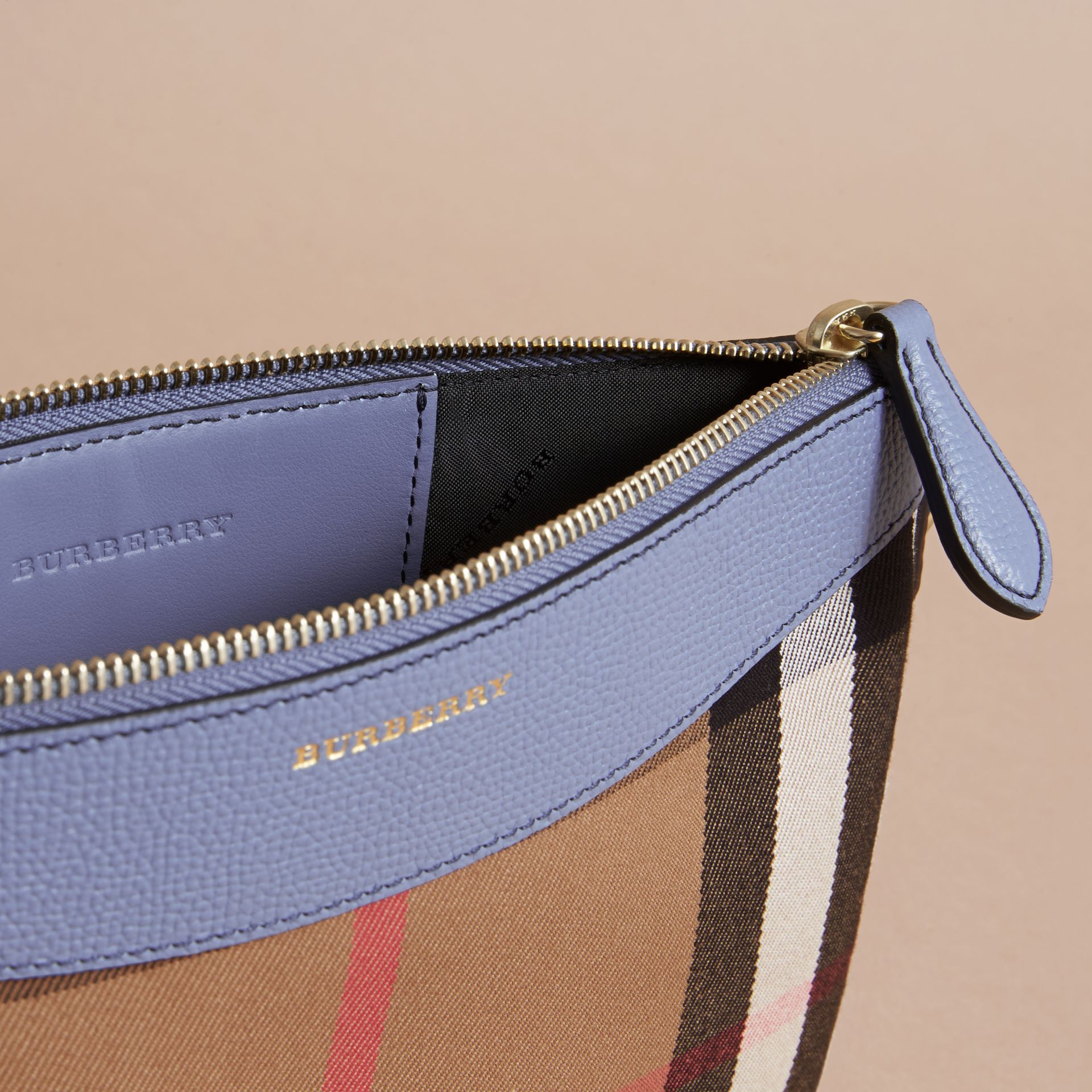 House Check and Leather Clutch Bag in Slate Blue - Women | Burberry - gallery image 6