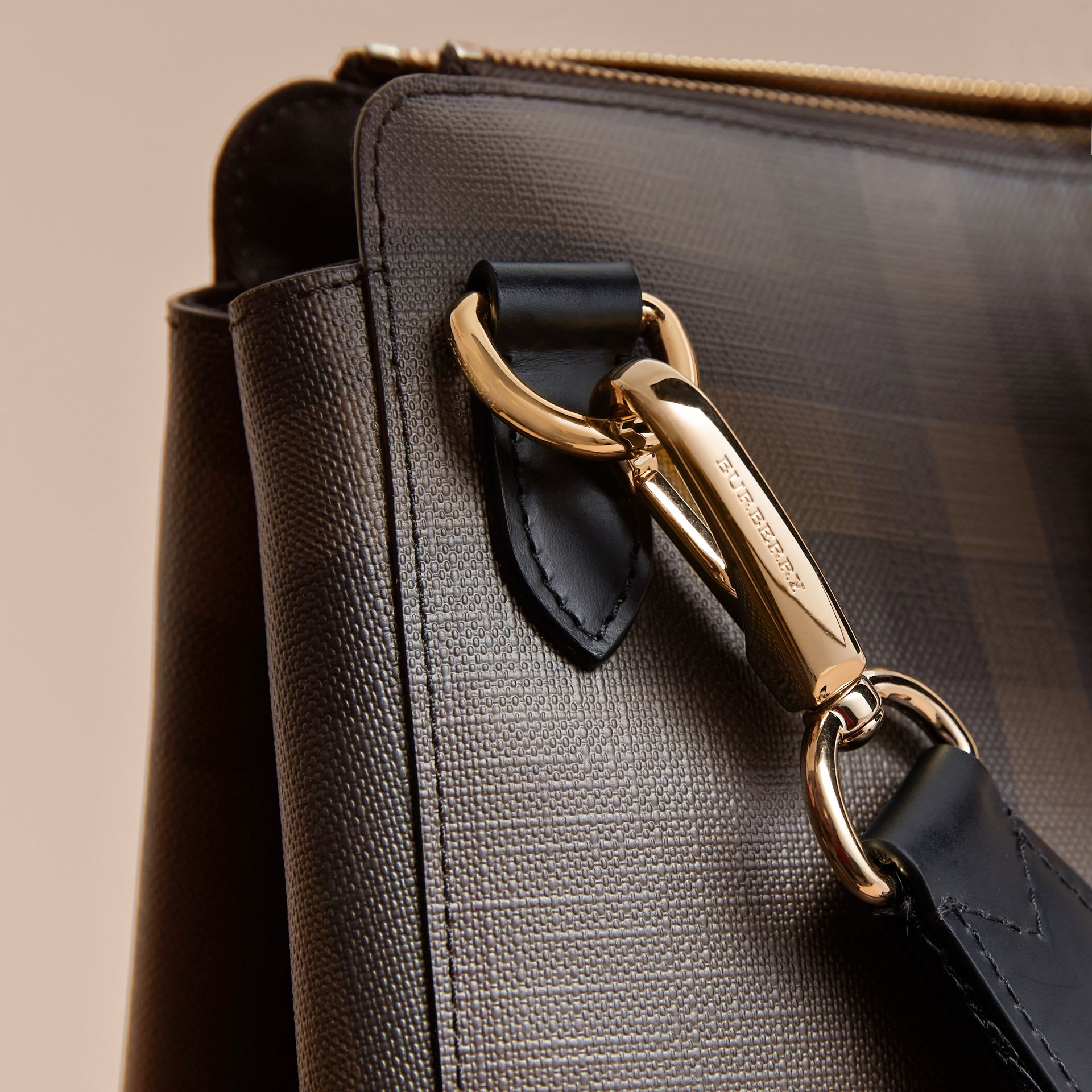 Large London Check Briefcase in Chocolate/black - Men | Burberry - gallery image 2