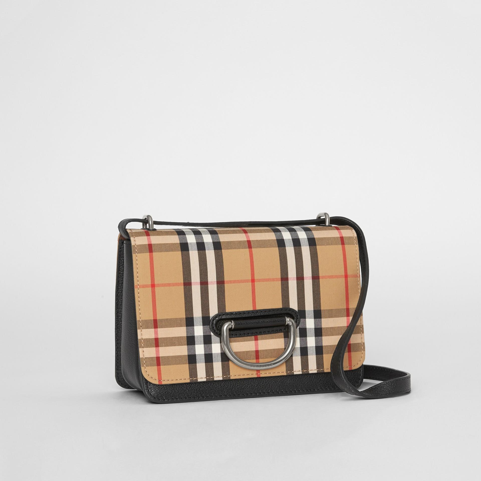 Petit sac TheD-ring en cuir et à motif Vintage check (Noir/jaune Antique) - Femme | Burberry - photo de la galerie 6