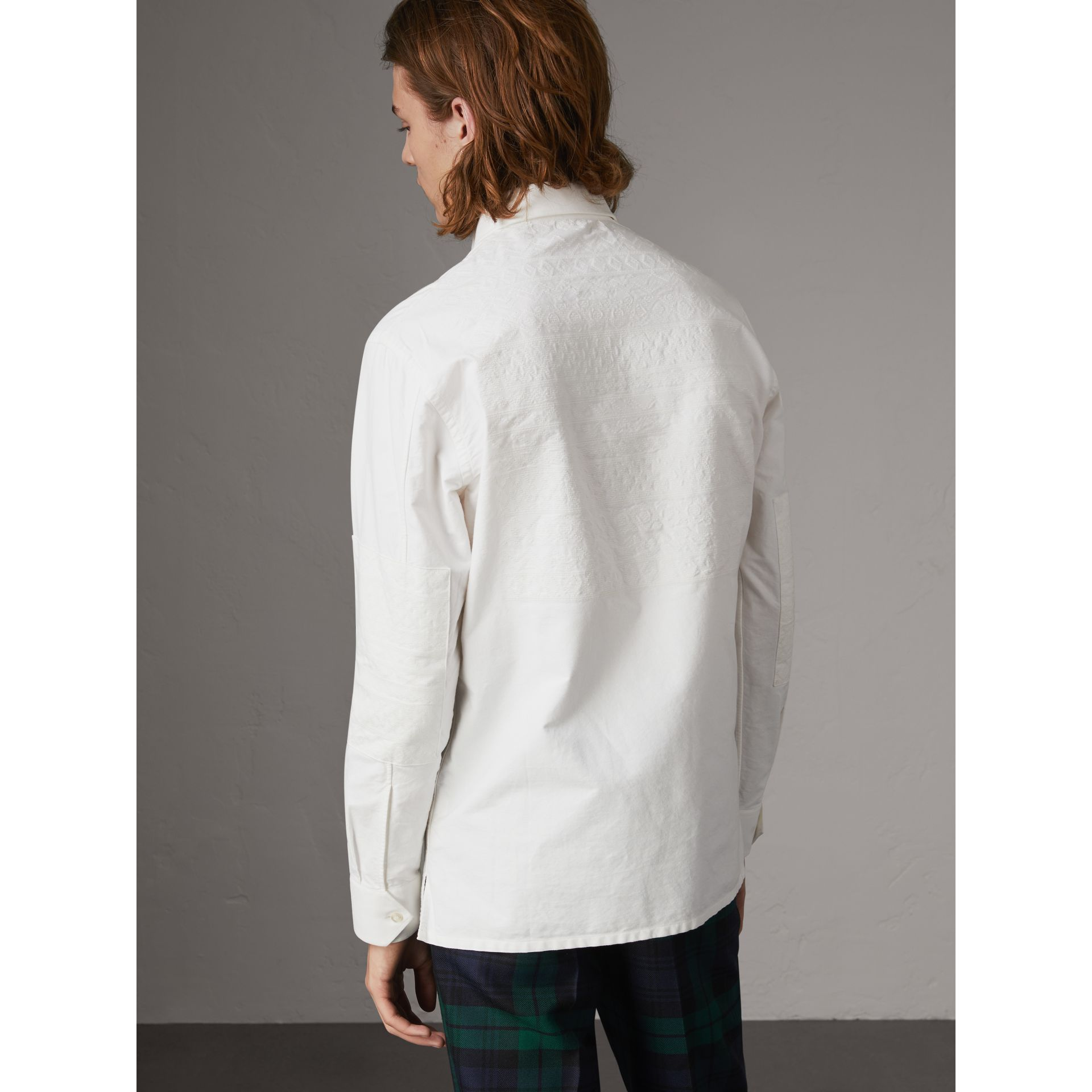 Embroidered Oxford Cotton Longline Shirt in White - Men | Burberry Canada - gallery image 2