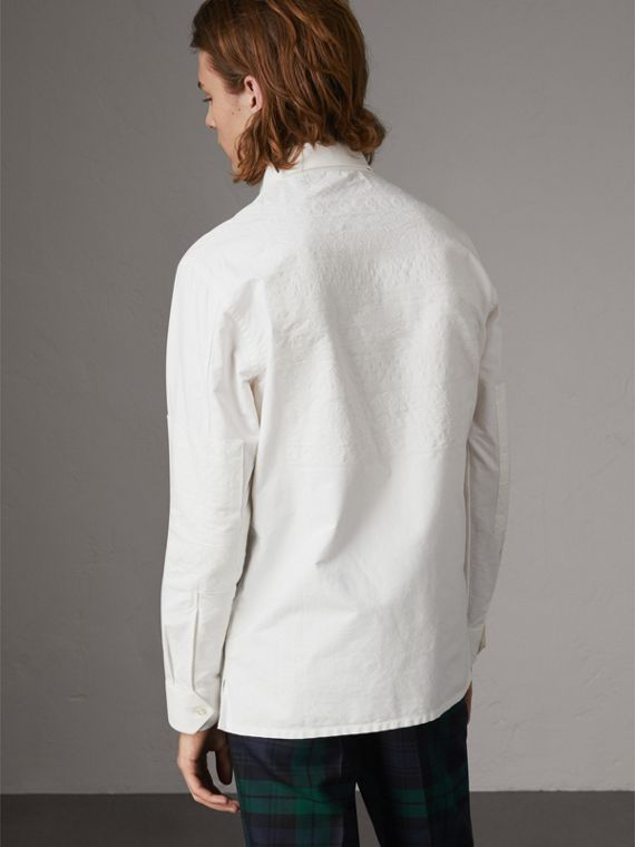 Embroidered Oxford Cotton Longline Shirt in White - Men | Burberry Singapore - cell image 2