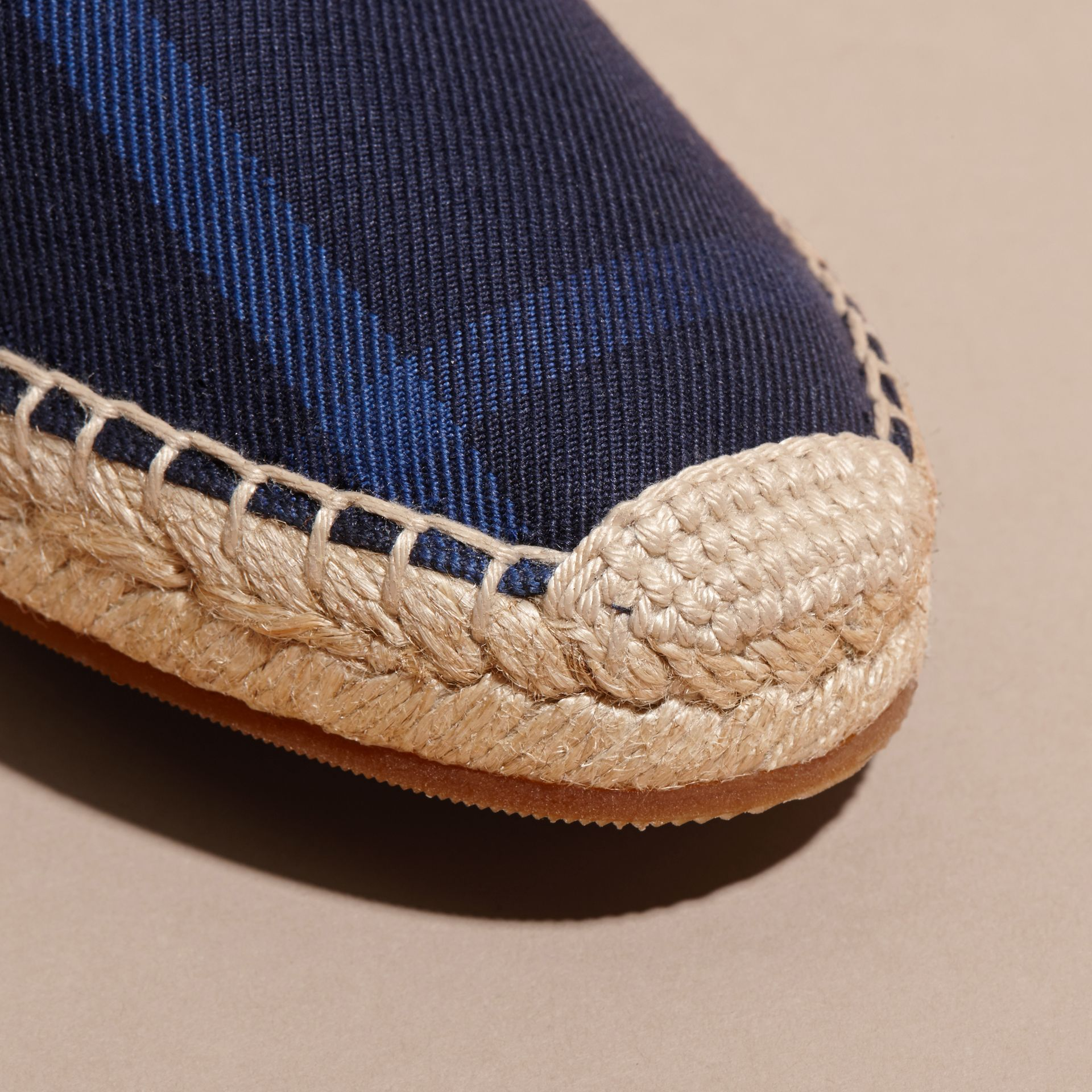 Leather Trim Canvas Check Espadrilles Indigo Blue - gallery image 2