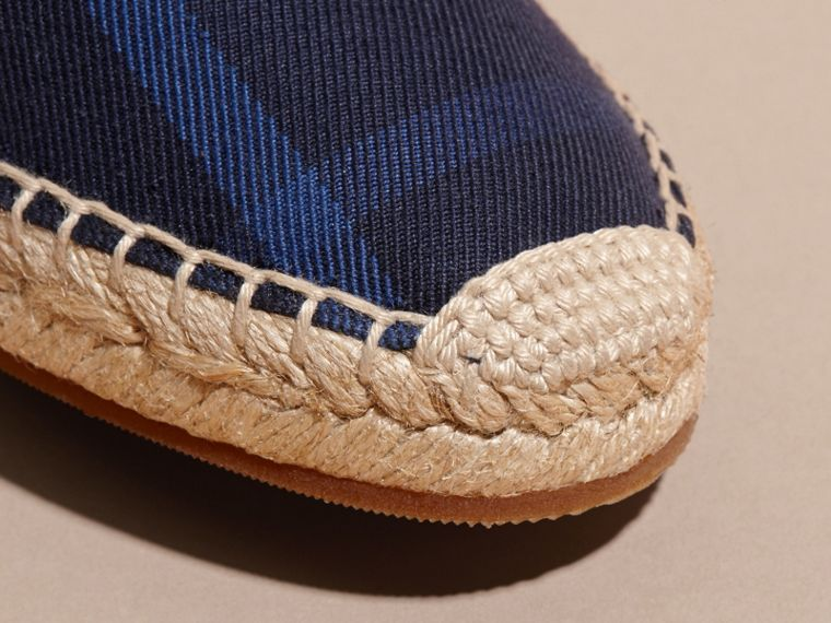 Leather Trim Canvas Check Espadrilles Indigo Blue - cell image 1