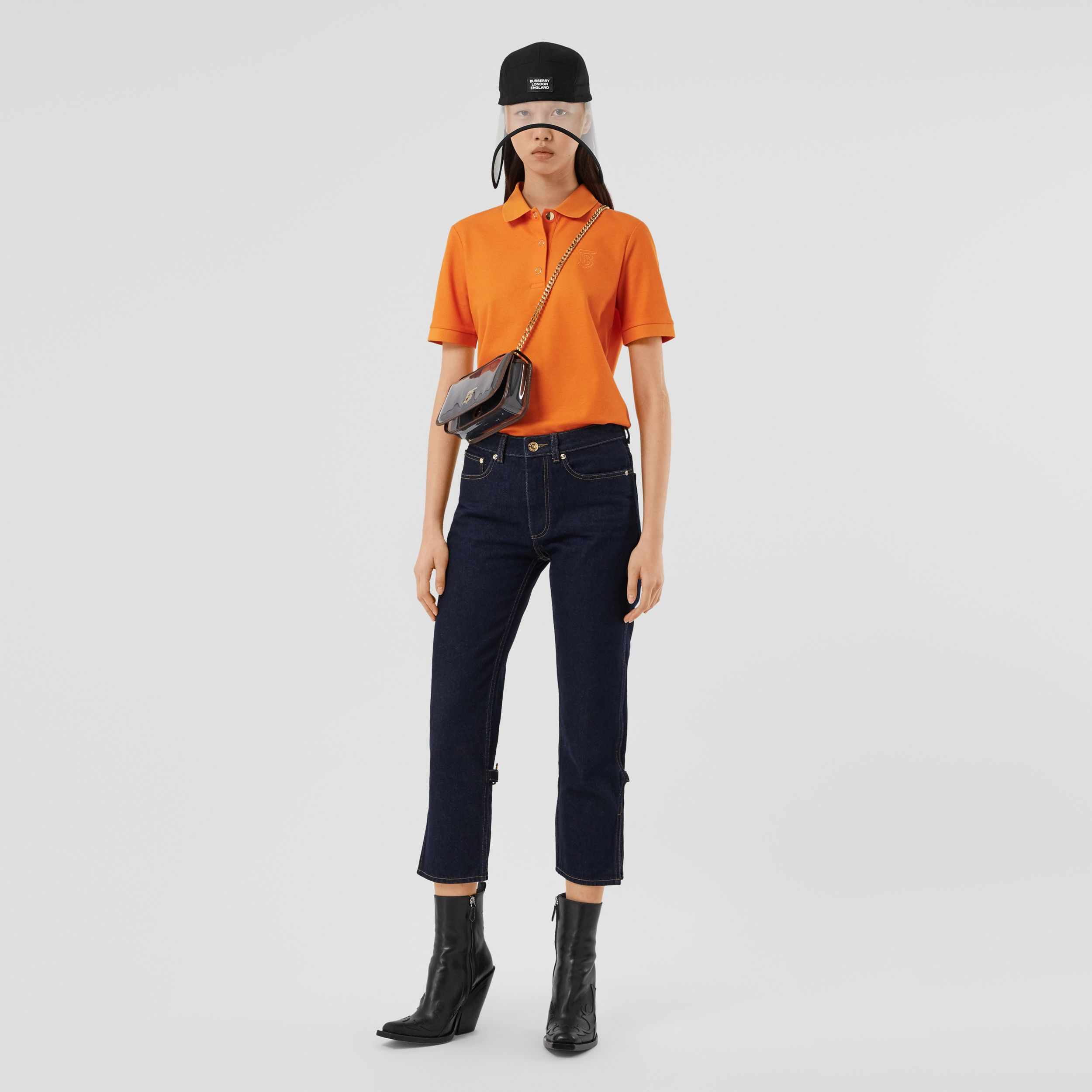Monogram Motif Cotton Piqué Polo Shirt in Bright Orange - Women | Burberry - 1