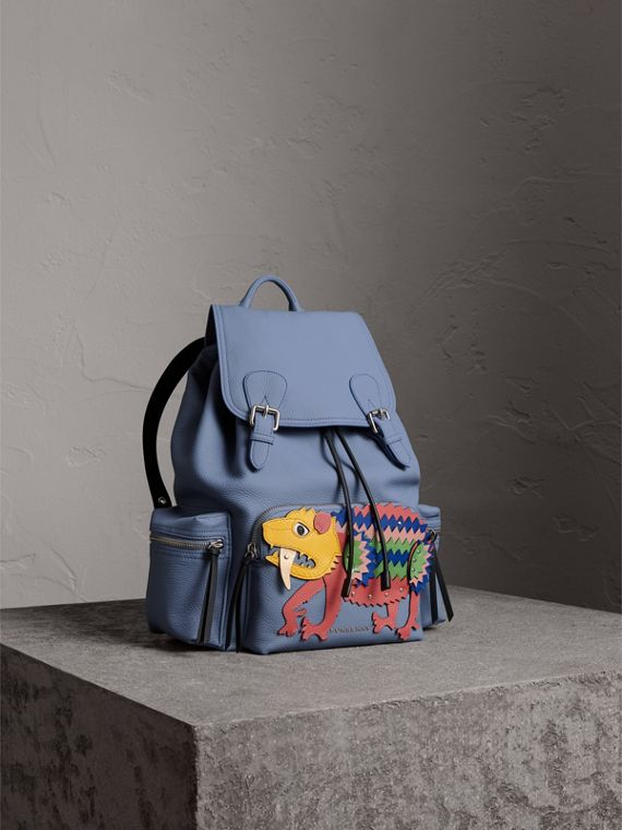 The Large Rucksack in Deerskin with Beasts Motif in Slate Blue - Women | Burberry