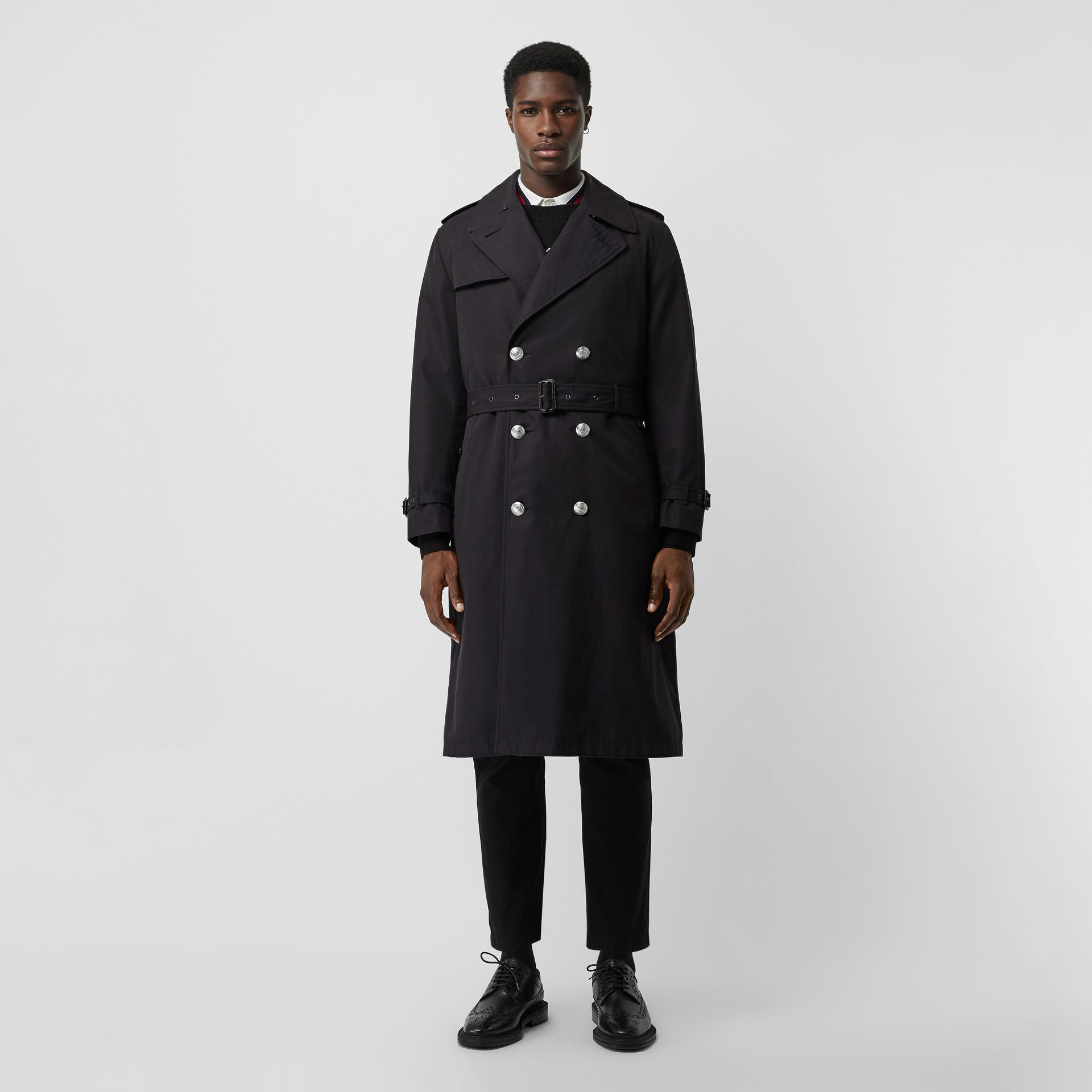 Cotton Gabardine Trench Coat with Warmer in Midnight Navy - Men | Burberry United Kingdom - gallery image 5