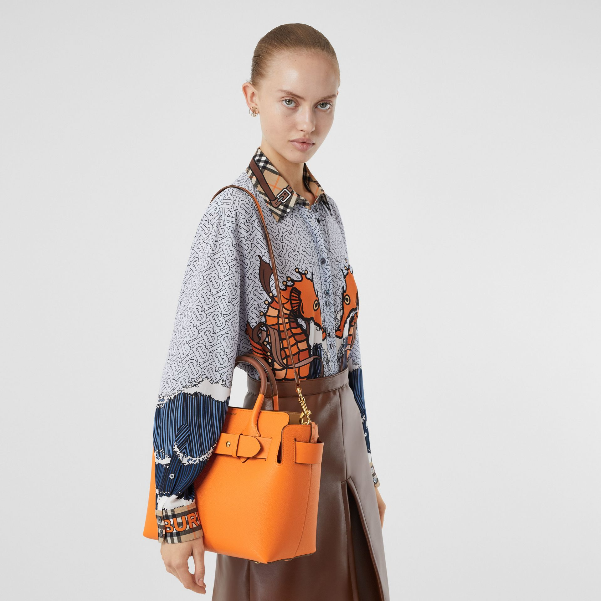 The Small Leather Triple Stud Belt Bag in Bright Orange - Women | Burberry - gallery image 2
