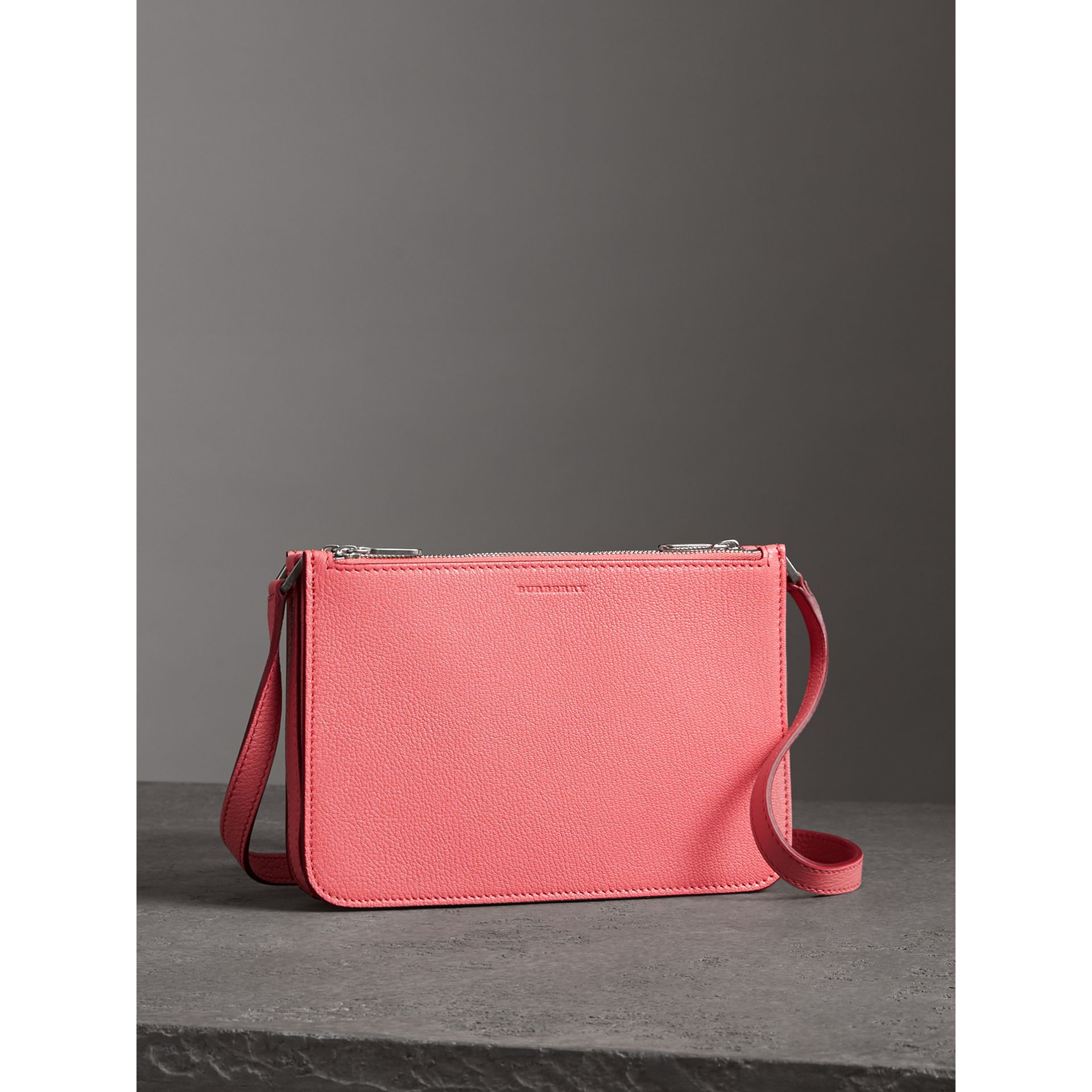 Triple Zip Grainy Leather Crossbody Bag in Bright Coral Pink - Women | Burberry Australia - gallery image 4
