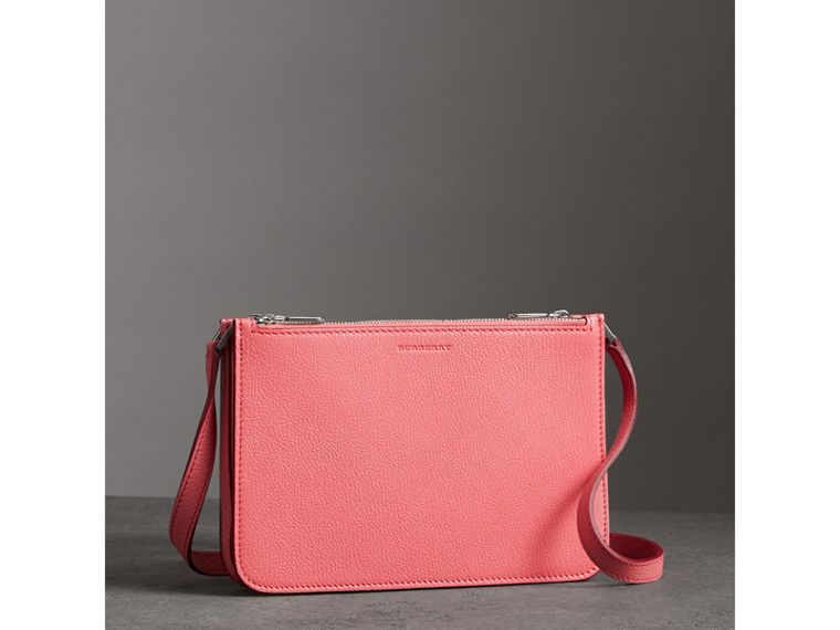 Triple Zip Grainy Leather Crossbody Bag in Bright Coral Pink - Women | Burberry Australia - cell image 4