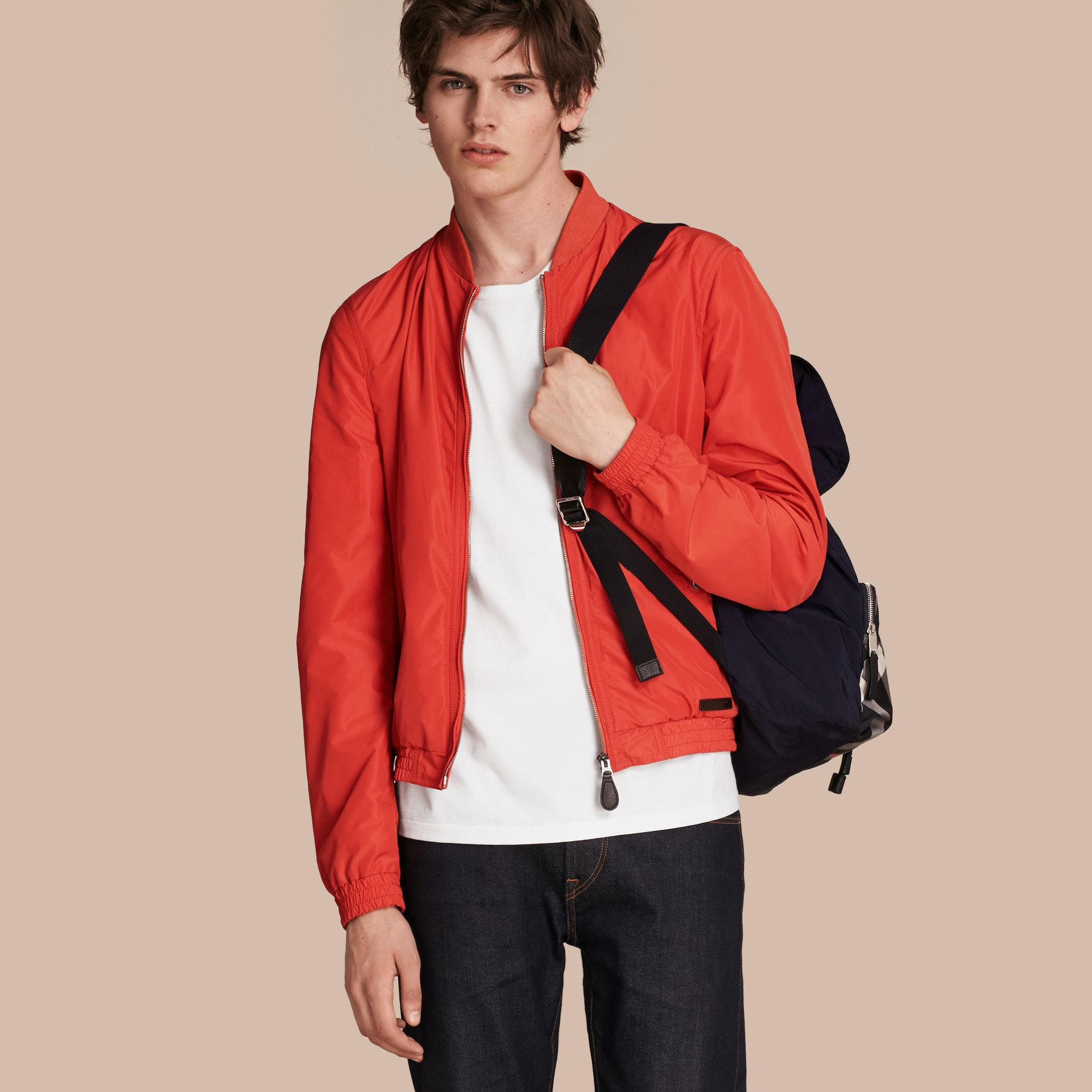 Orange red Showerproof Bomber Jacket - gallery image 1