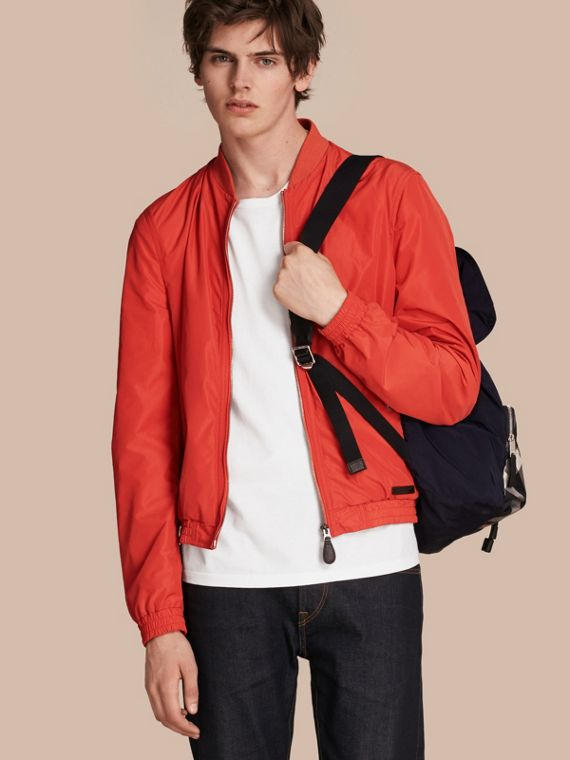 Showerproof Bomber Jacket Orange Red