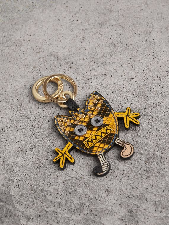 Creature Motif Python Print Key Ring in Bright Toffee