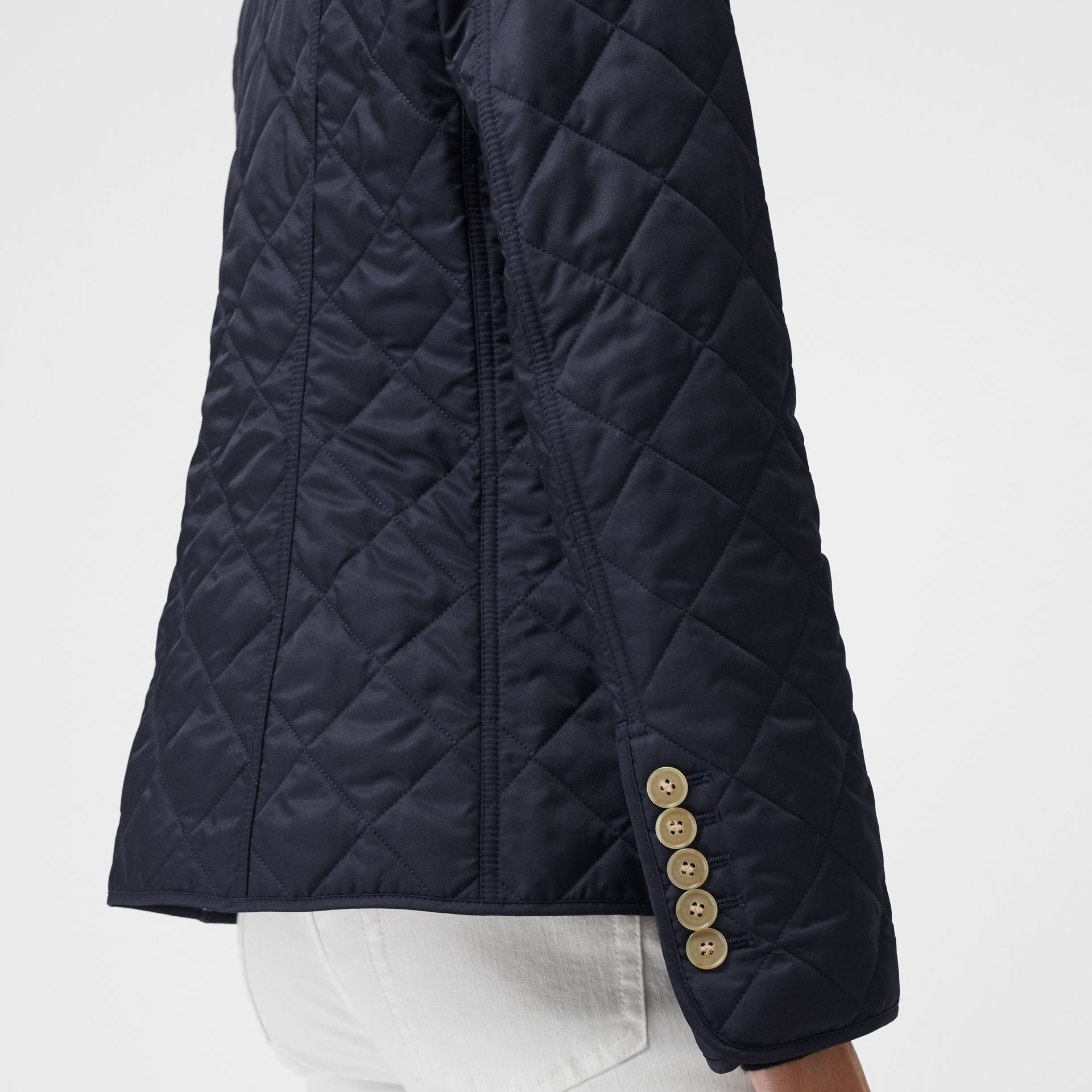 Diamond Quilted Jacket in Navy - Women | Burberry United Kingdom - gallery image 1