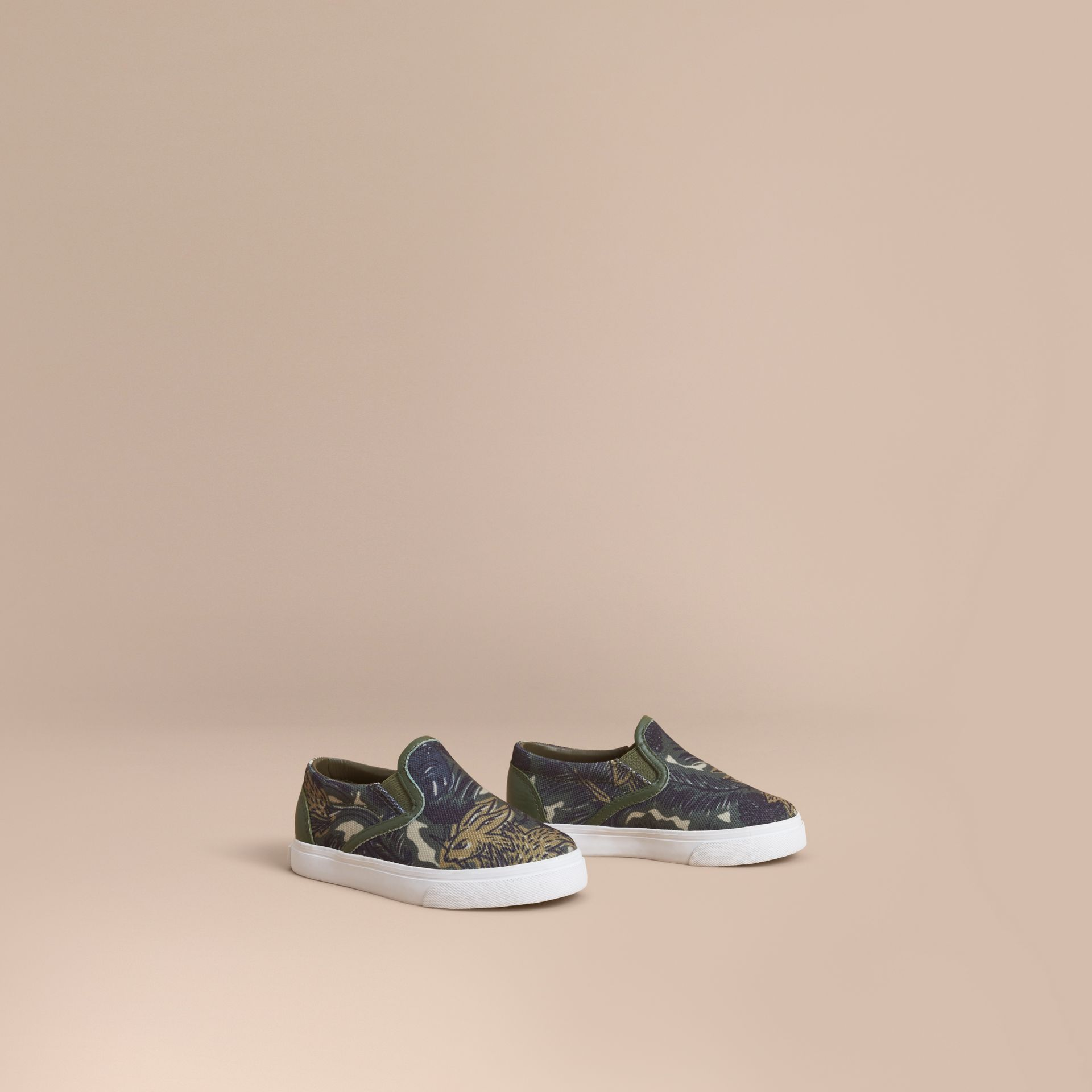 Beasts Print Cotton and Leather Slip-on Trainers in Clay Green | Burberry Hong Kong - gallery image 1