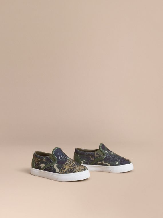 Beasts Print Cotton and Leather Slip-on Trainers in Clay Green