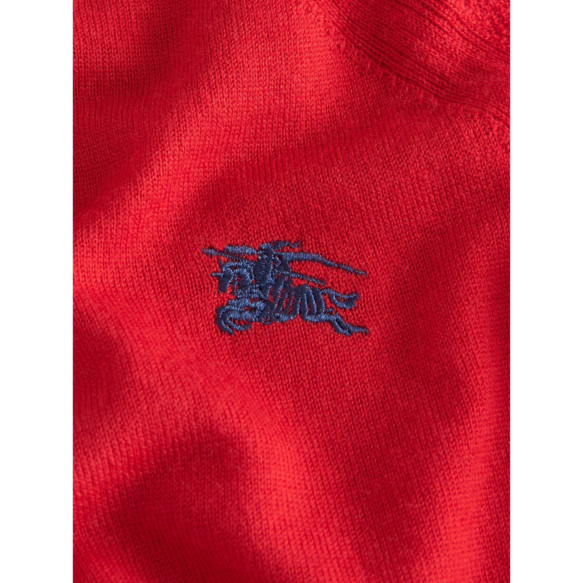 Crew Neck Cashmere Sweater in Burgundy Red | Burberry - gallery image 1