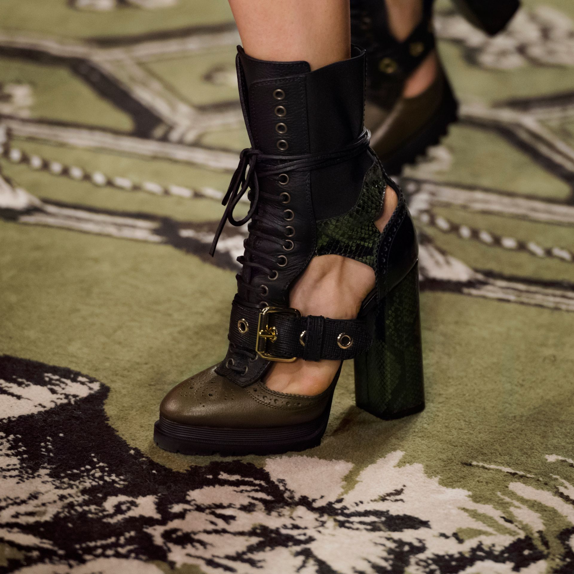 Military olive Leather and Snakeskin Cut-out Platform Boots Military Olive - gallery image 7