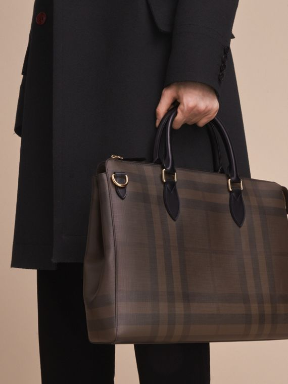 Grand attaché-case à motif London check (Chocolat/noir) - Homme | Burberry - cell image 3