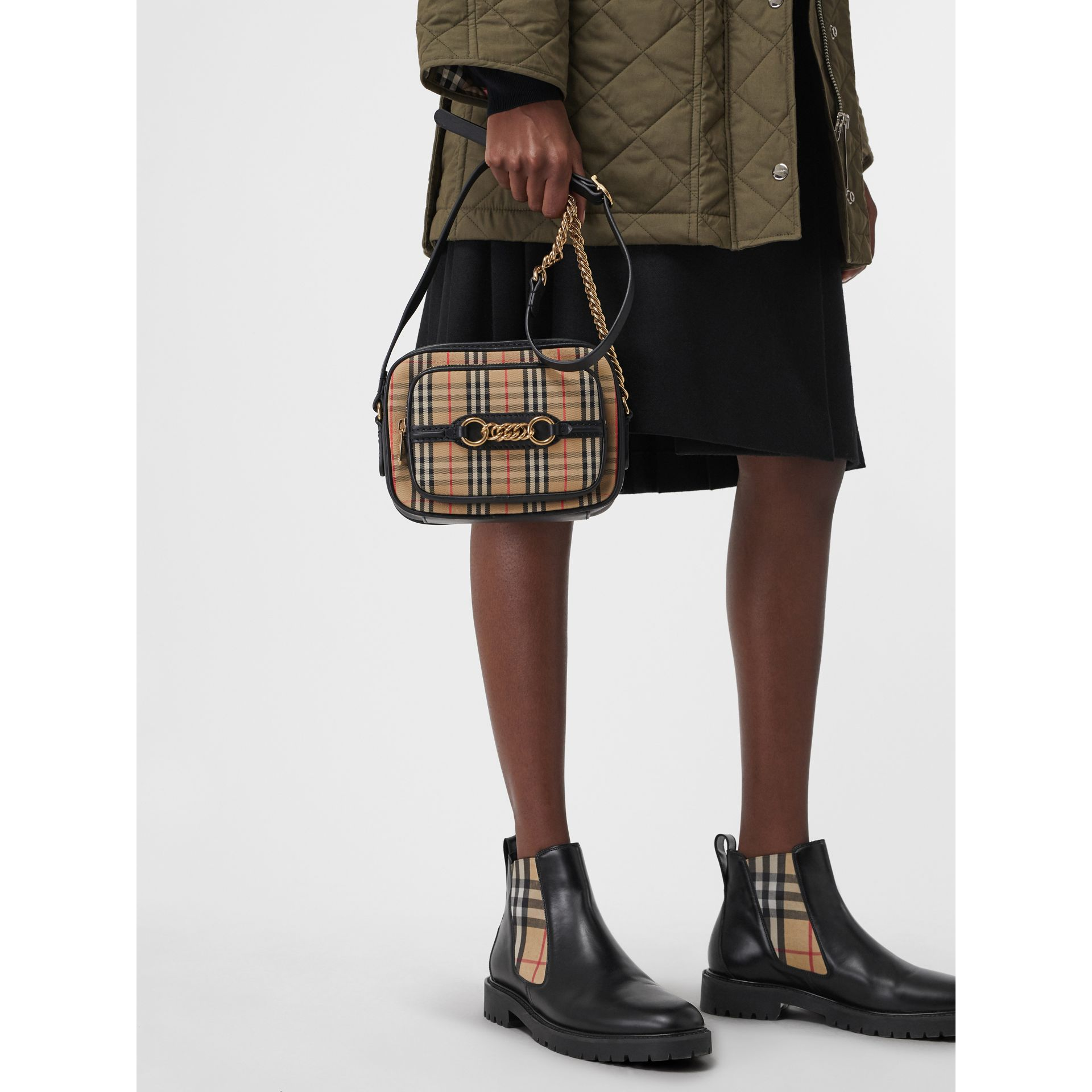 The 1983 Check Link Camera Bag in Black - Women | Burberry Australia - gallery image 3