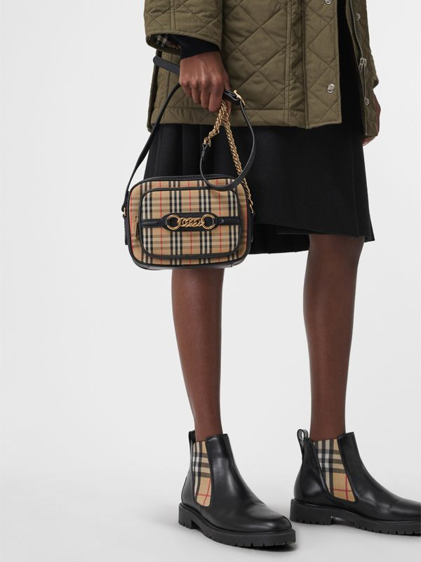 The 1983 Check Link Camera Bag in Black - Women | Burberry Australia - cell image 3