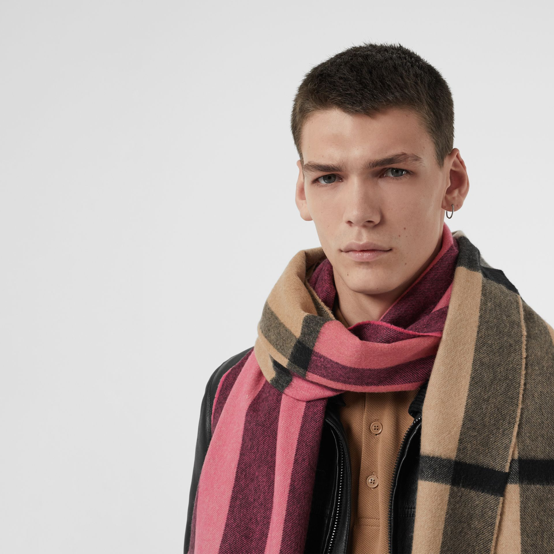Colour Block Check Cashmere Scarf in Rose Pink | Burberry - gallery image 6