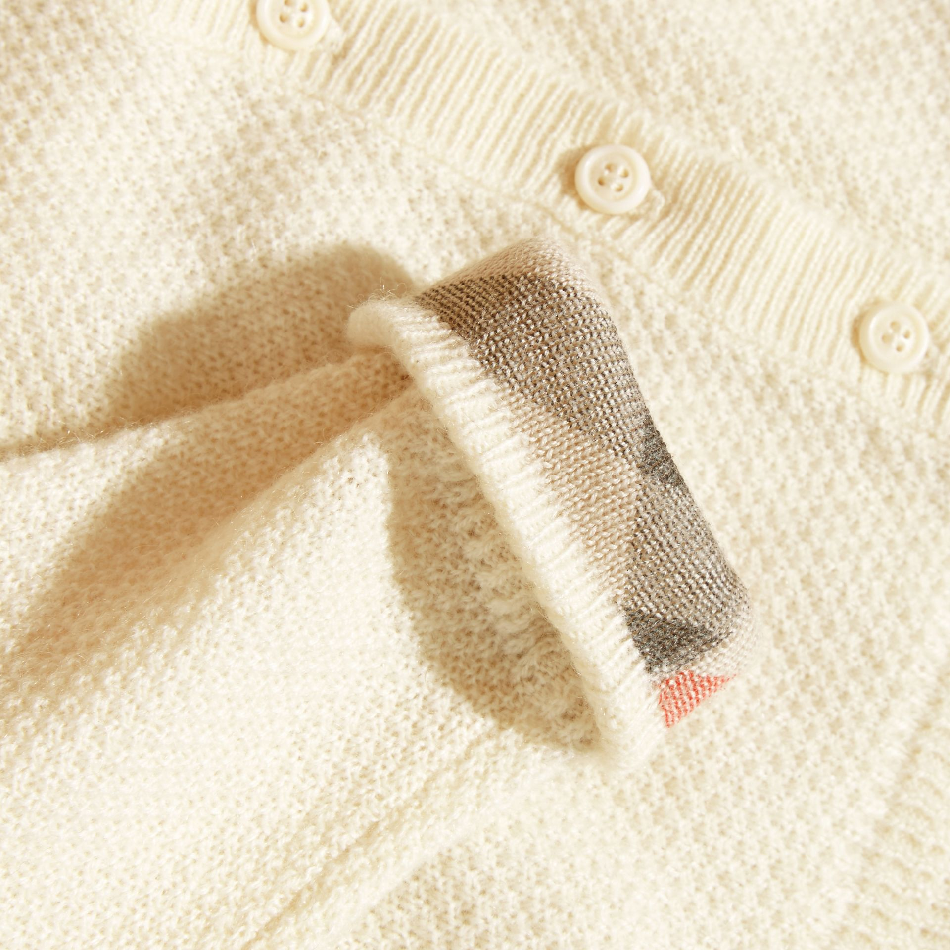 Natural white Textured Cashmere Cardigan Natural White - gallery image 2