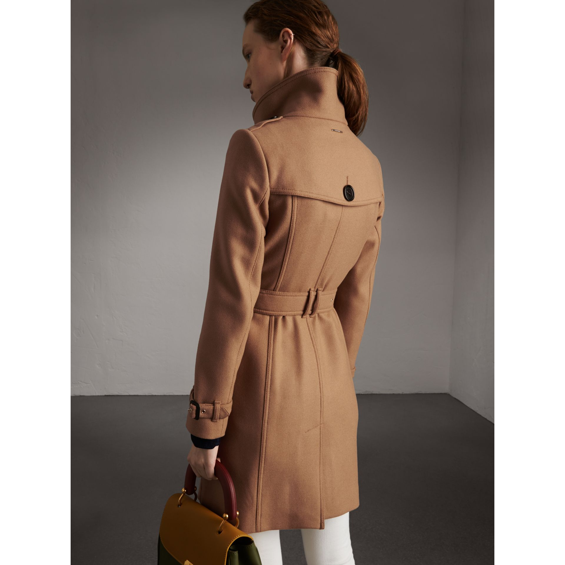 Technical Wool Cashmere Funnel Neck Coat in Camel - Women | Burberry United States - gallery image 3