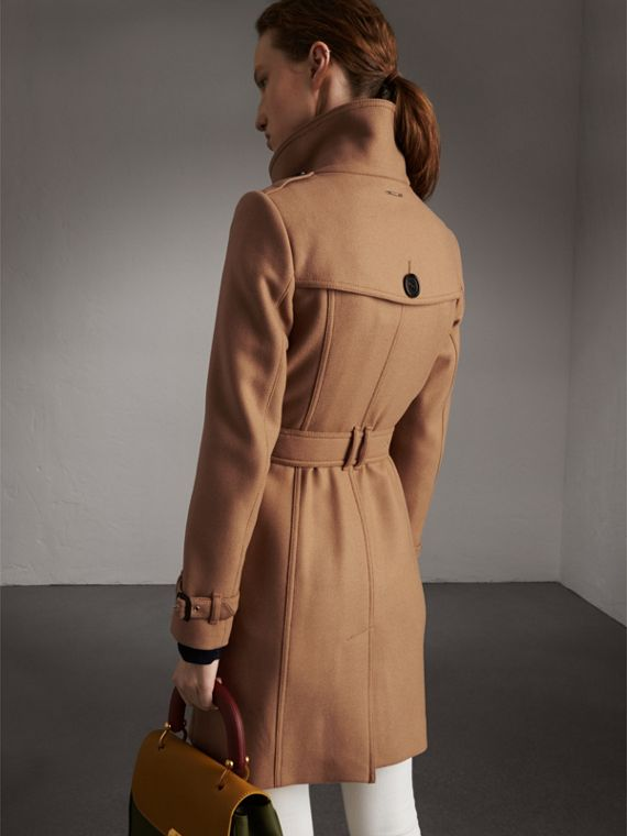 Technical Wool Cashmere Funnel Neck Coat in Camel - Women | Burberry - cell image 2