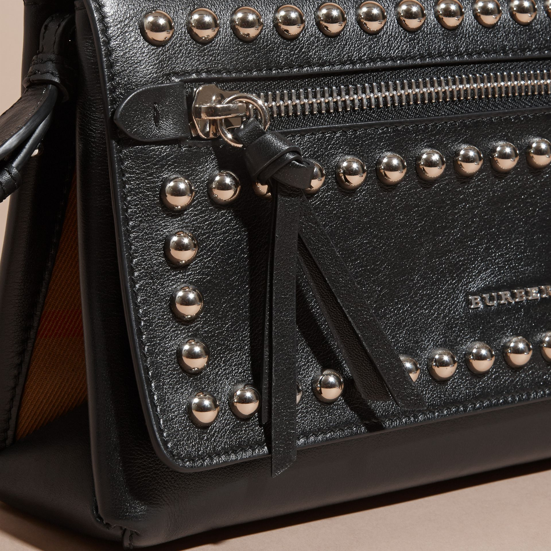 Black Smooth Leather Clutch Bag with Stud Detail - gallery image 2