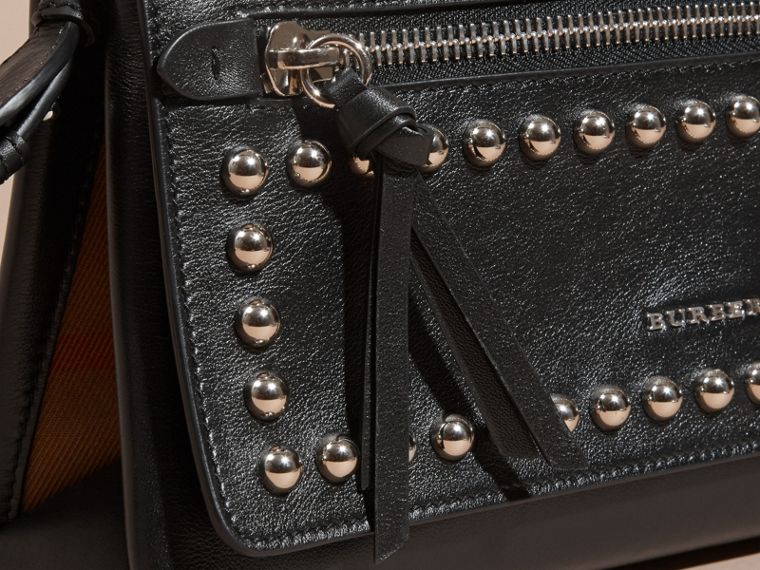 Black Smooth Leather Clutch Bag with Stud Detail - cell image 1