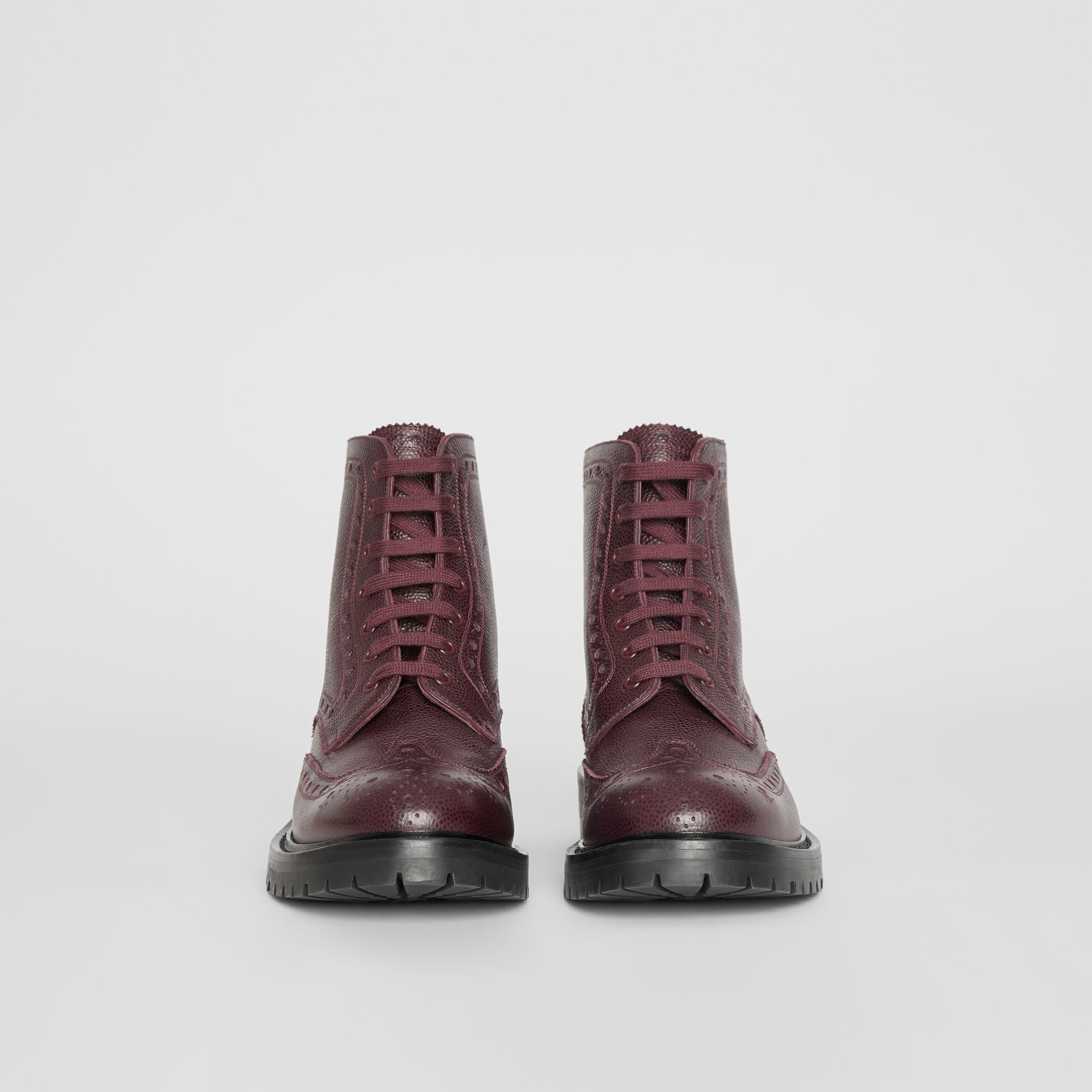 Brogue Detail Grainy Leather Boots in Bordeaux - Men | Burberry United States - gallery image 3