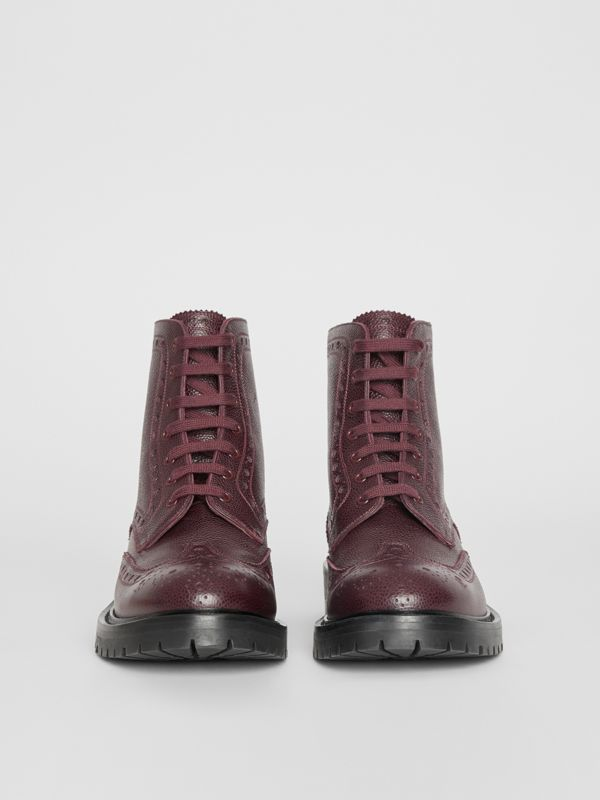 Brogue Detail Grainy Leather Boots in Bordeaux - Men | Burberry United Kingdom - cell image 3