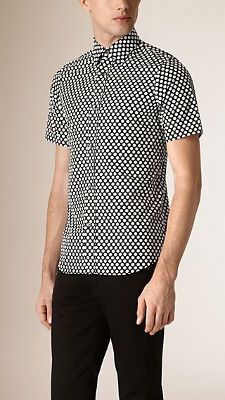 Short-sleeved Polka Dot Cotton Shirt