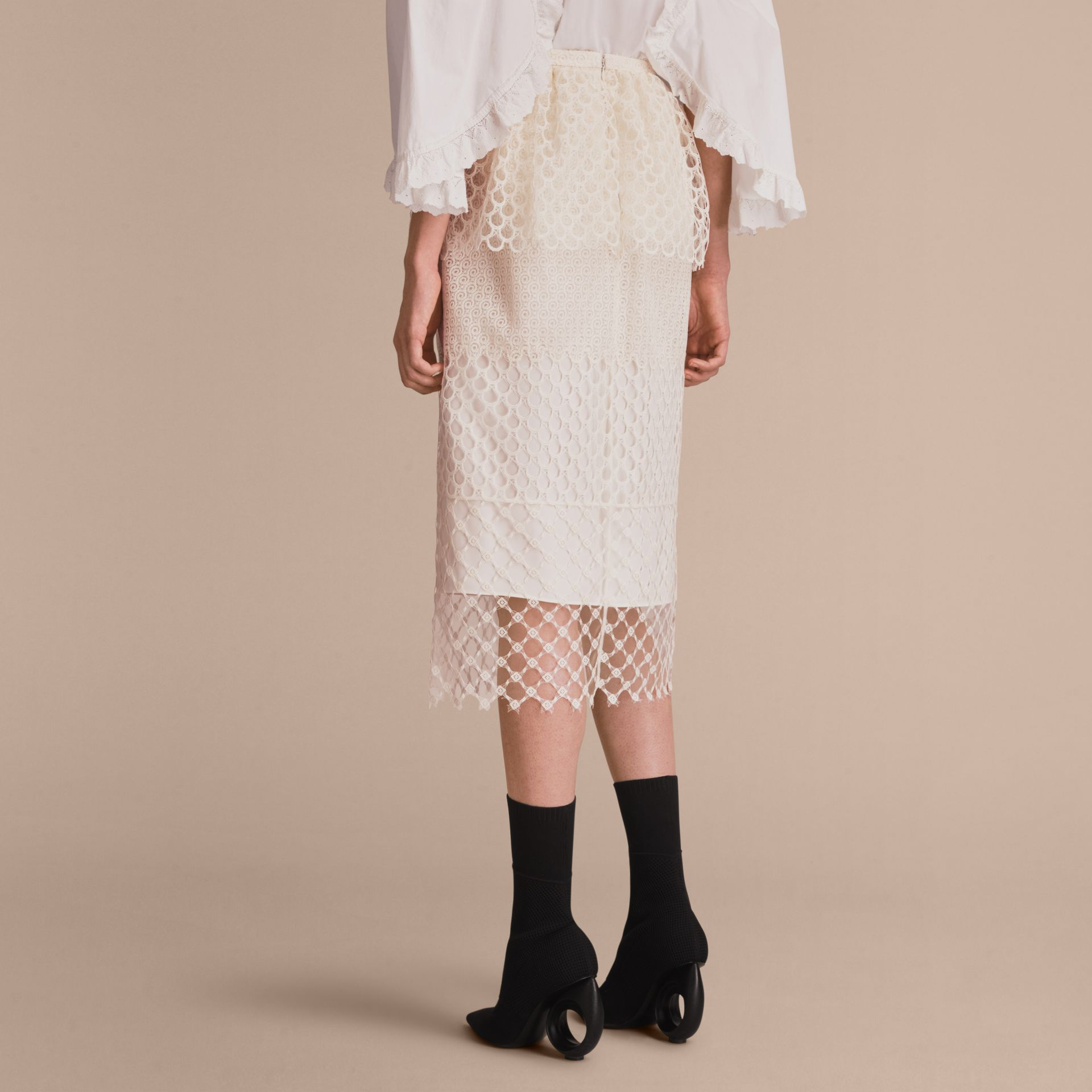 Macramé Lace Peplum Skirt in Natural White - Women | Burberry - gallery image 3