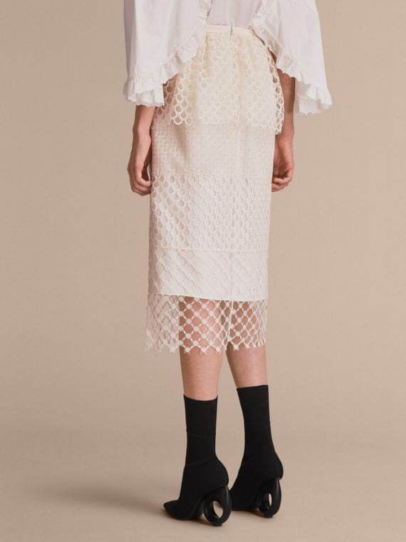 Macramé Lace Peplum Skirt in Natural White - Women | Burberry - cell image 2