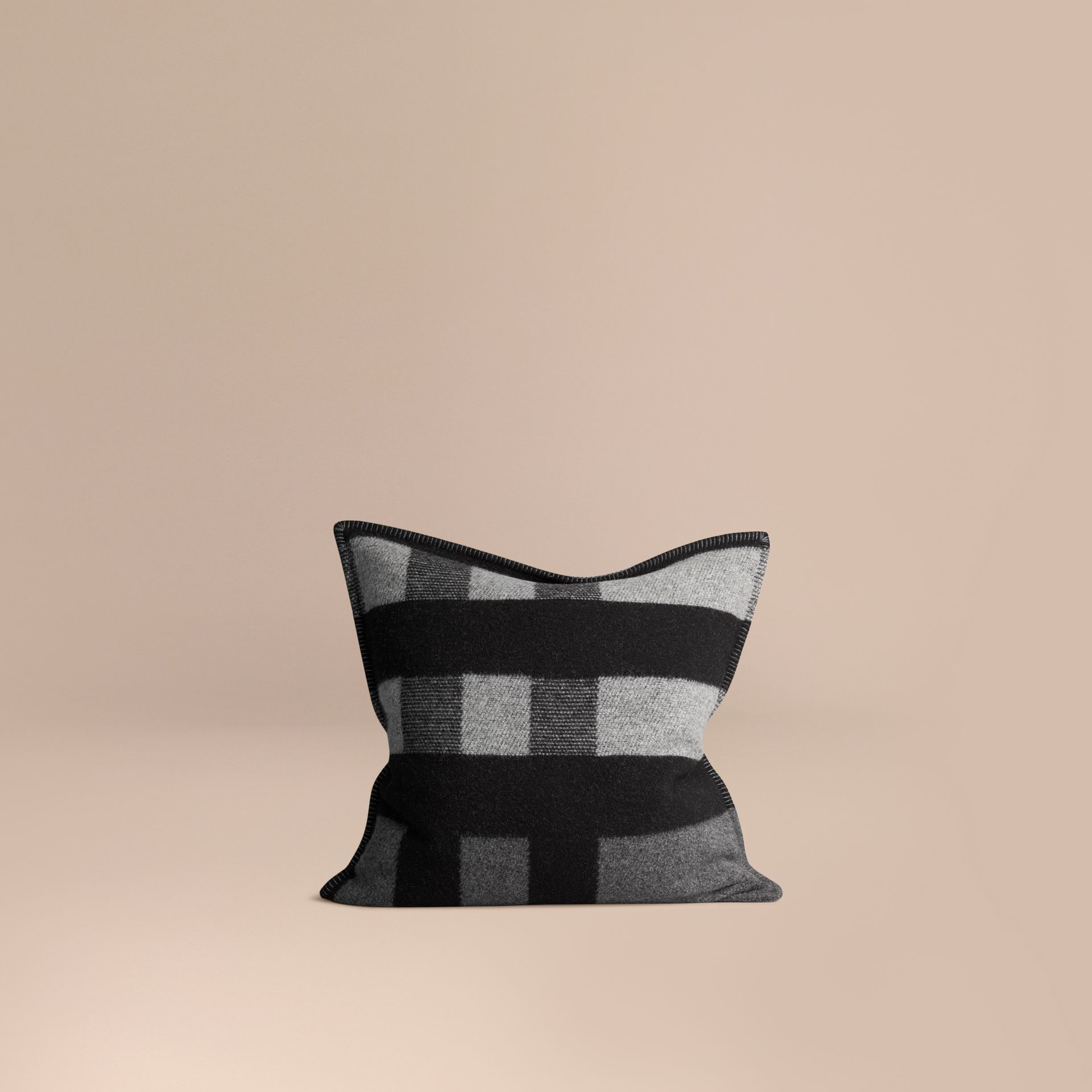 Dark grey check Check Wool Cashmere Cushion Cover Dark Grey - gallery image 1