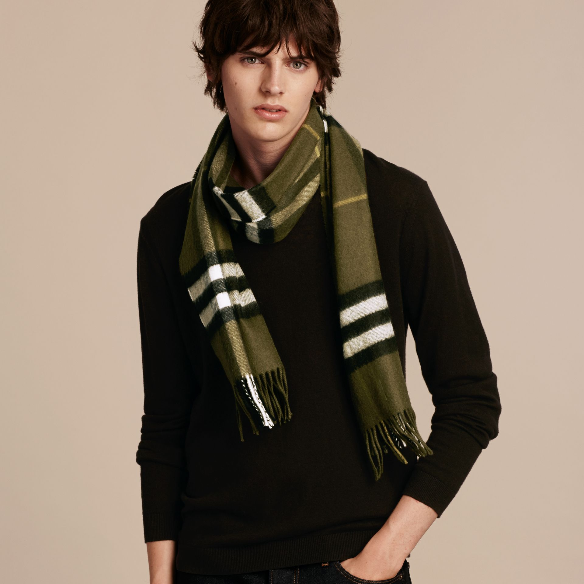 Olive green The Classic Cashmere Scarf in Check Olive Green - gallery image 4