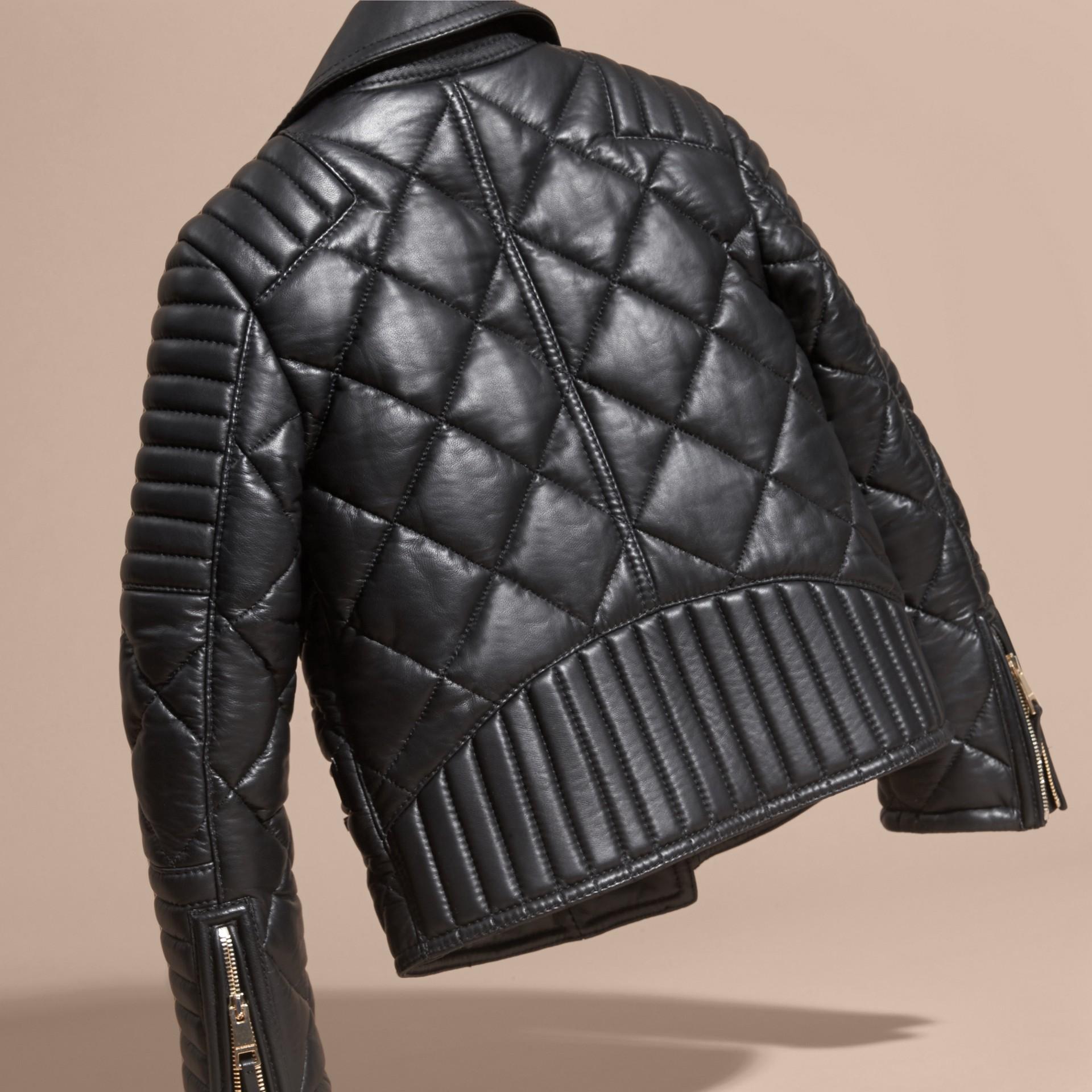 Black Quilted Lambskin Biker Jacket - gallery image 4