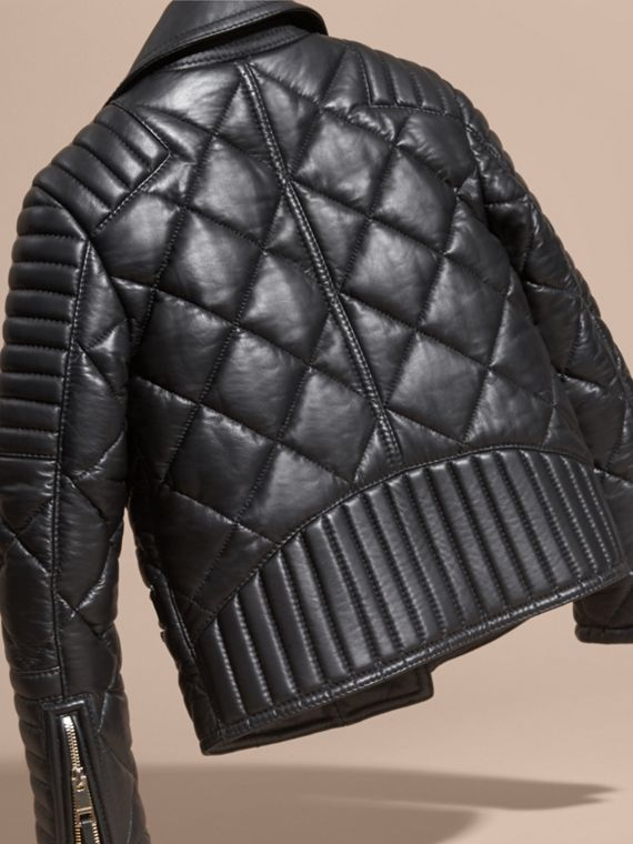 Black Quilted Lambskin Biker Jacket - cell image 3