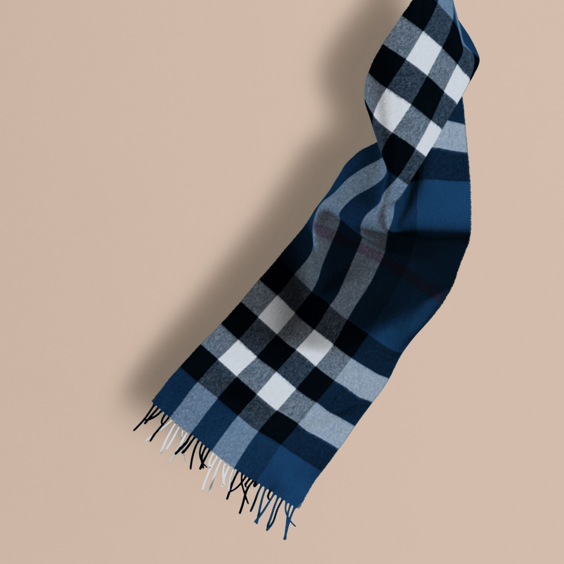 Marine blue The Large Classic Cashmere Scarf in Check Marine Blue - gallery image 1
