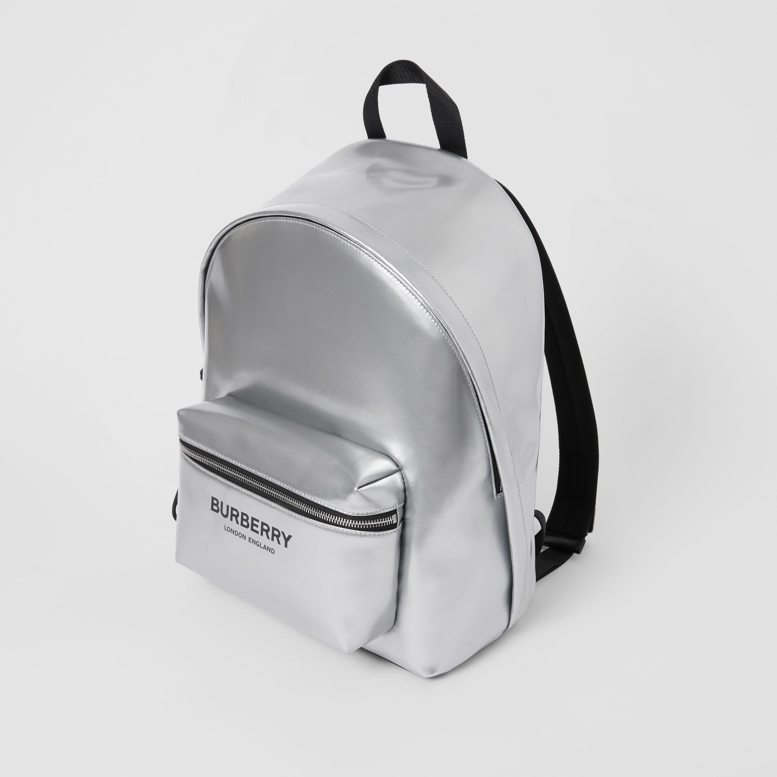 Metallic Coated Canvas Backpack in Silver | Burberry United Kingdom - 4