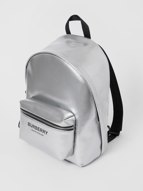 Metallic Coated Canvas Backpack in Silver   Burberry United States - cell image 3