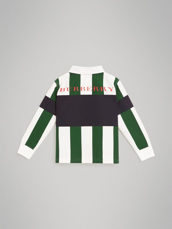 Long-sleeve Striped Cotton Polo Shirt in Racing Green/white | Burberry - cell image 3