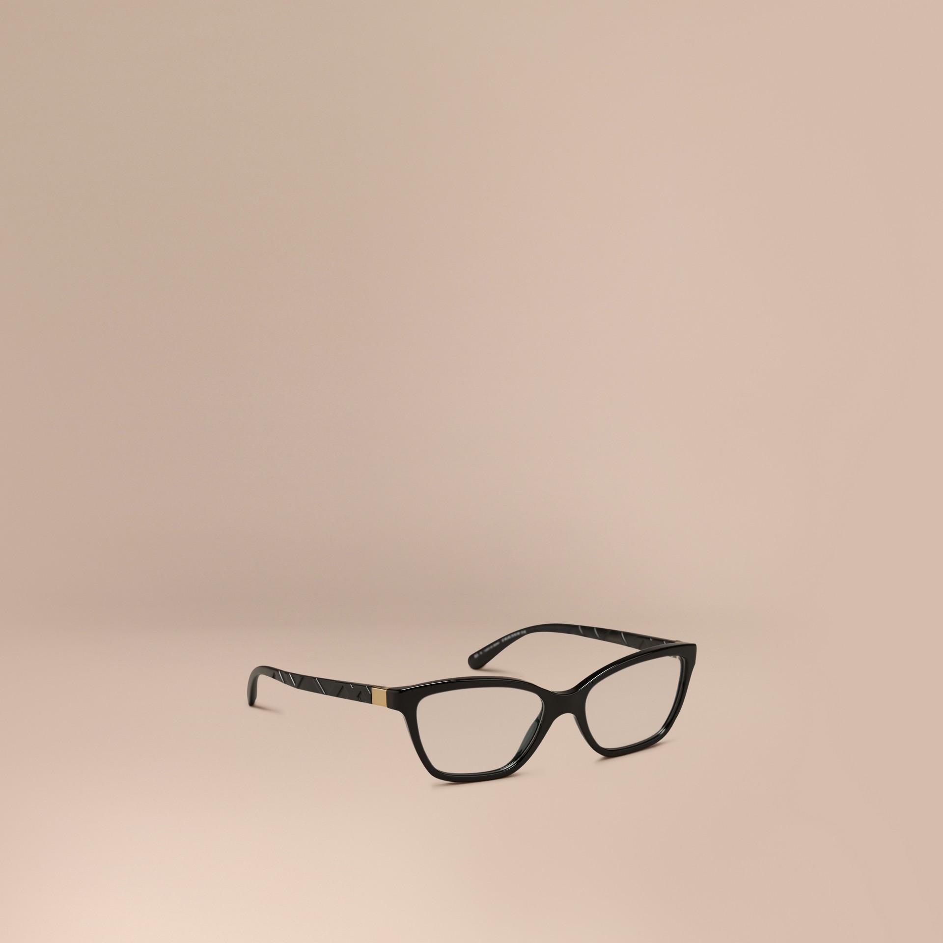Black Check Detail Cat-eye Optical Frames Black - gallery image 1