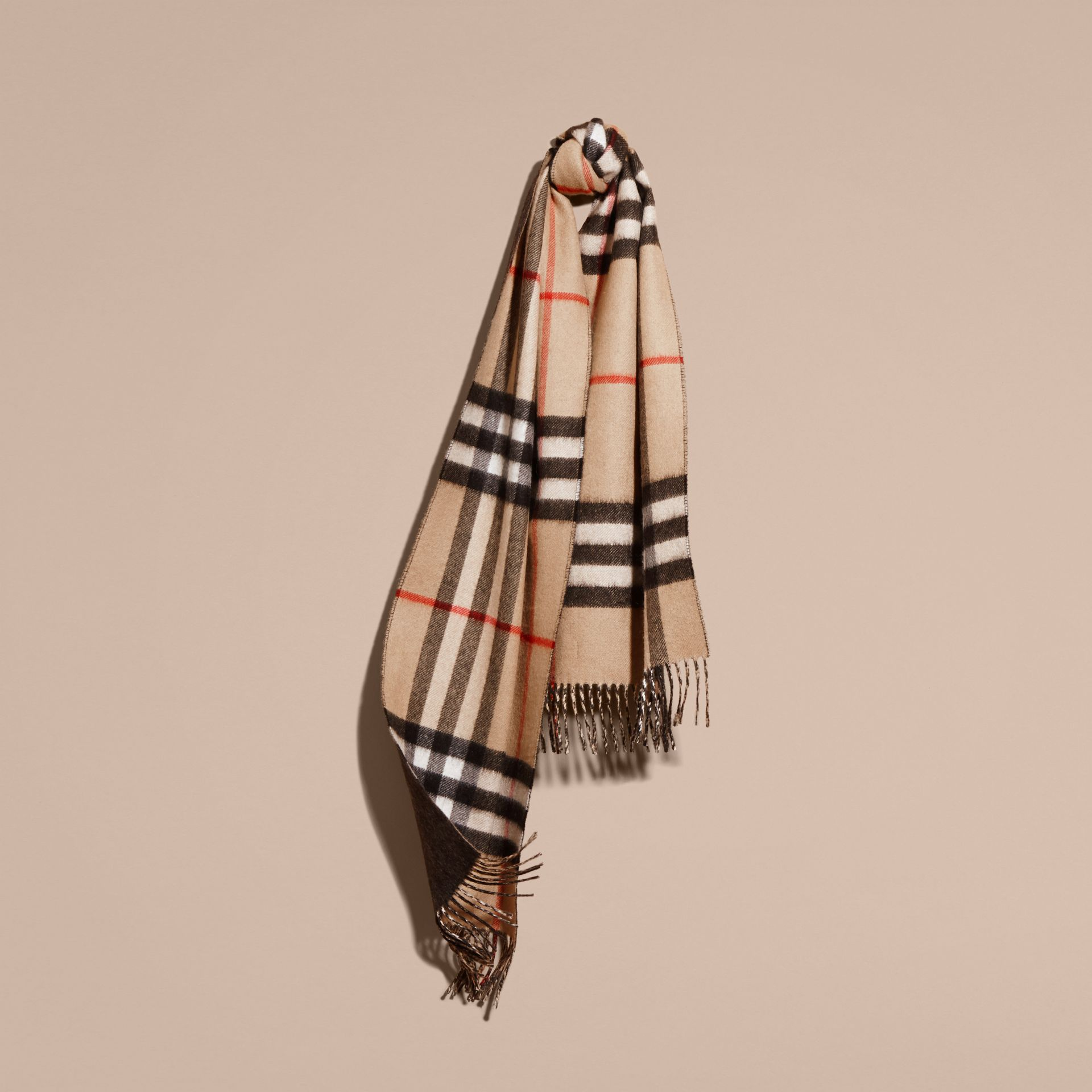 Reversible Check Cashmere and Block-colour Scarf in Camel/charcoal - gallery image 6