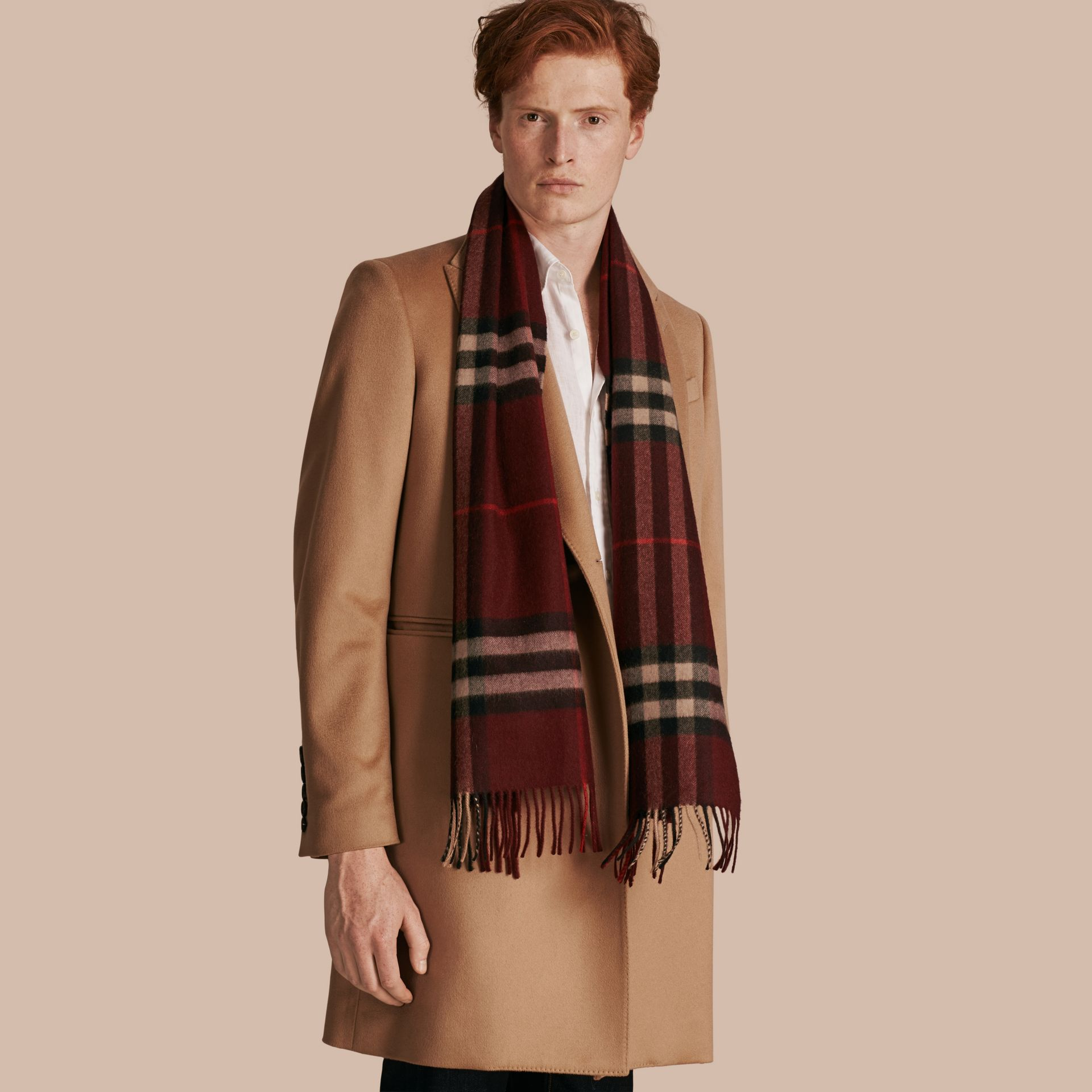 The Classic Cashmere Scarf in Check Claret - gallery image 4