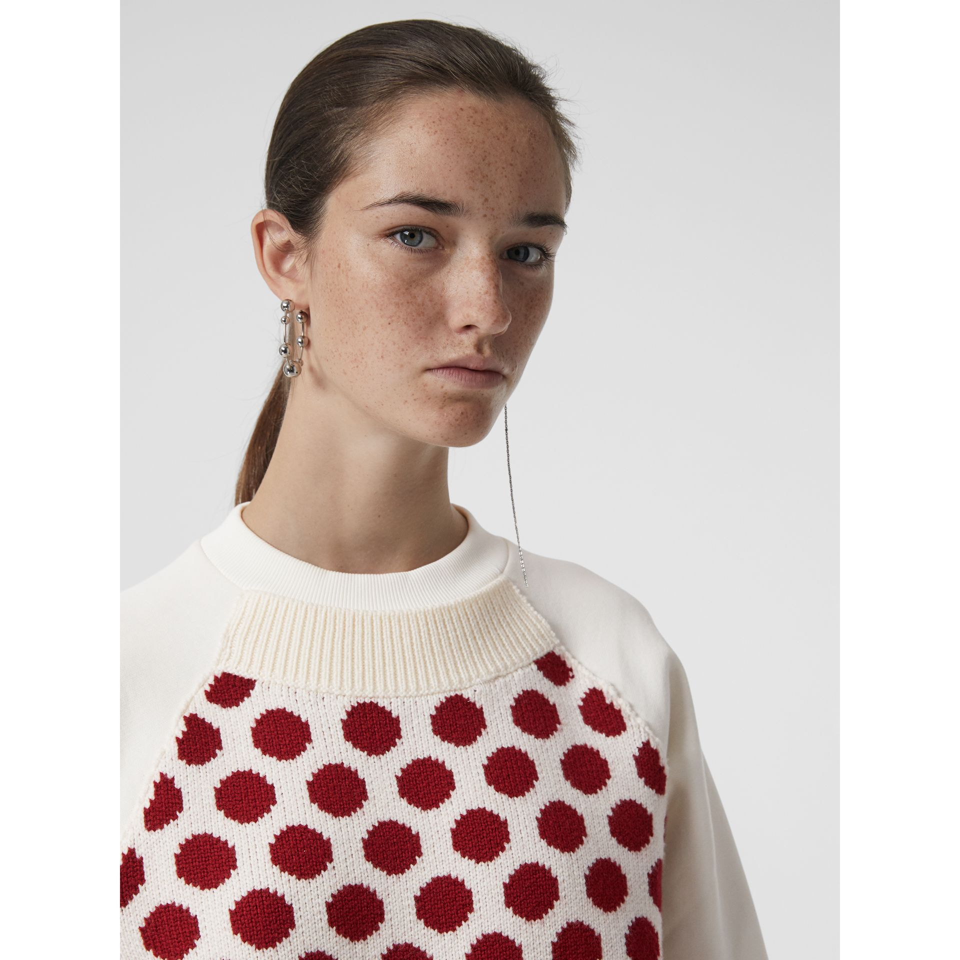 Spot Print Merino Wool and Jersey Sweater in White - Women | Burberry - gallery image 1
