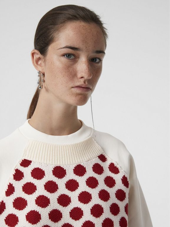 Spot Print Merino Wool and Jersey Sweater in White - Women | Burberry - cell image 1